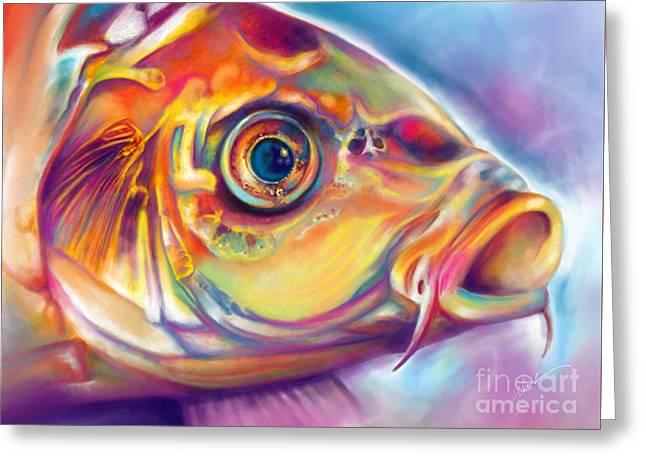 Blue-eyed Koi Greeting Card by Julianne Black