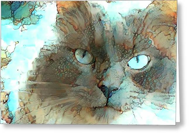 Blue Eyed Persian Cat Watercolor Greeting Card