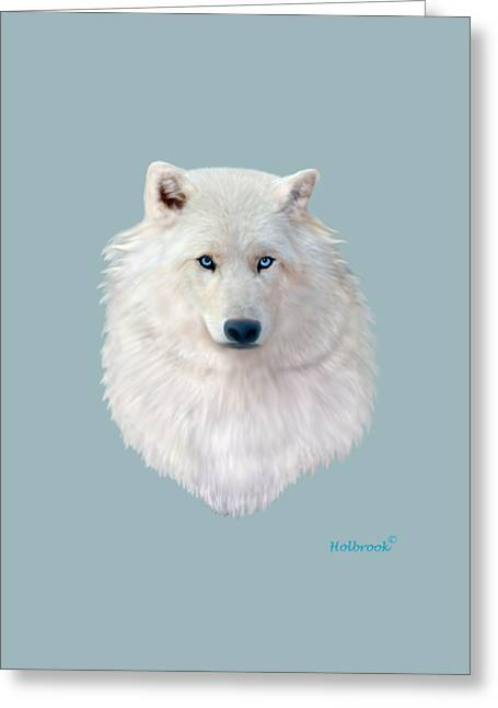 Blue-eyed Snow Wolf Greeting Card