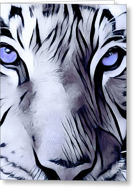 Blue Eyed Tiger Greeting Card