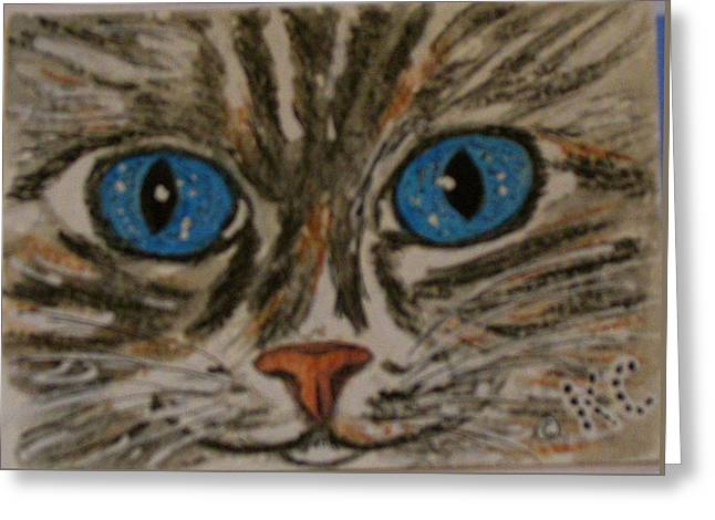 Greeting Card featuring the painting Blue Eyed Tiger Cat by Kathy Marrs Chandler