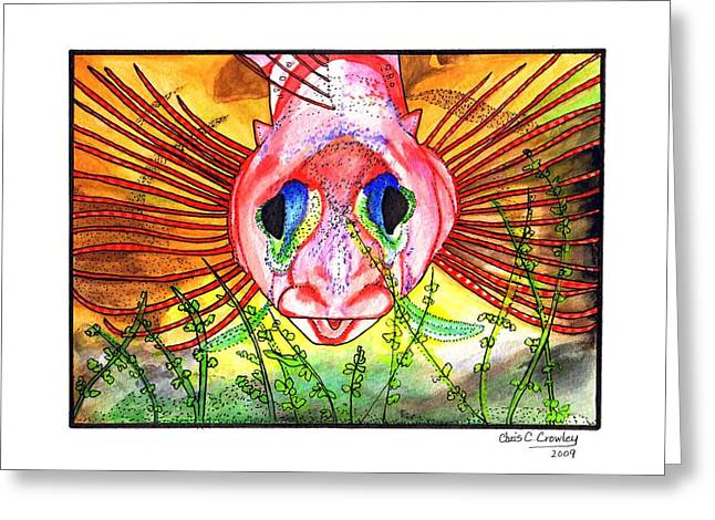 Blue-eyed Triple Fin Greeting Card by Chris Crowley