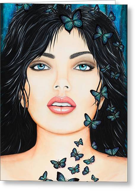 Greeting Card featuring the painting Blue Eyes And Butterflies by Dede Koll