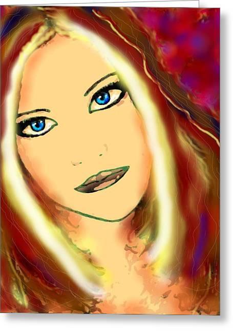 Natalie Holland Greeting Cards - Blue Eyes Greeting Card by Natalie Holland