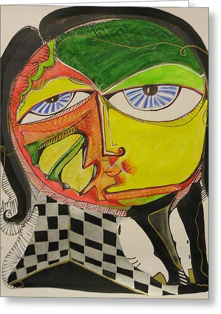 Blue Eyes Yellow Face Greeting Card by Jimmy King