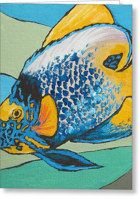 Blue Face Angelfish Greeting Card by Sandy Tracey