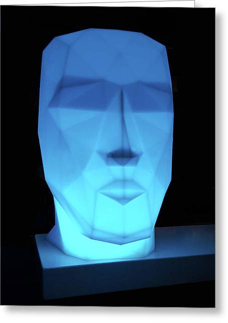 Blue Face Greeting Card