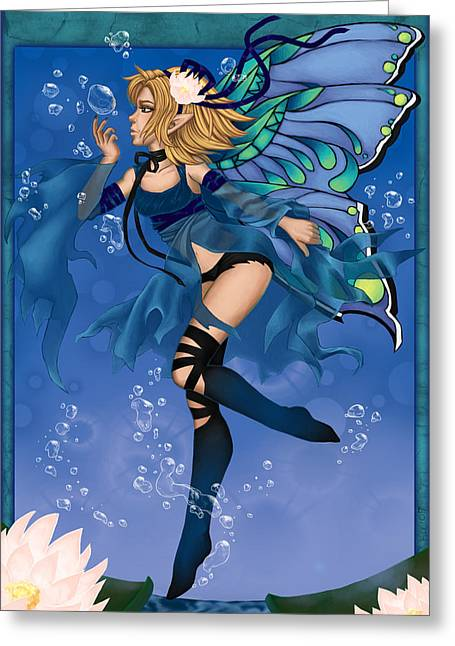 Blue Fairy Of Water Greeting Card by KimiCookie Williams