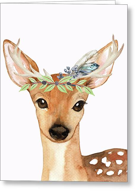 Blue Feather Woodland Boho Deer Greeting Card