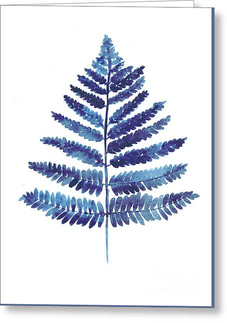 Blue Fern Watercolor Art Print Painting Greeting Card