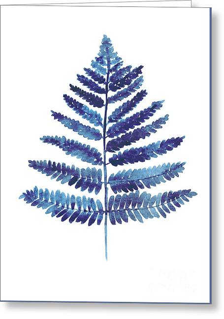 Blue Ferns Watercolor Art Print Painting Greeting Card by Joanna Szmerdt