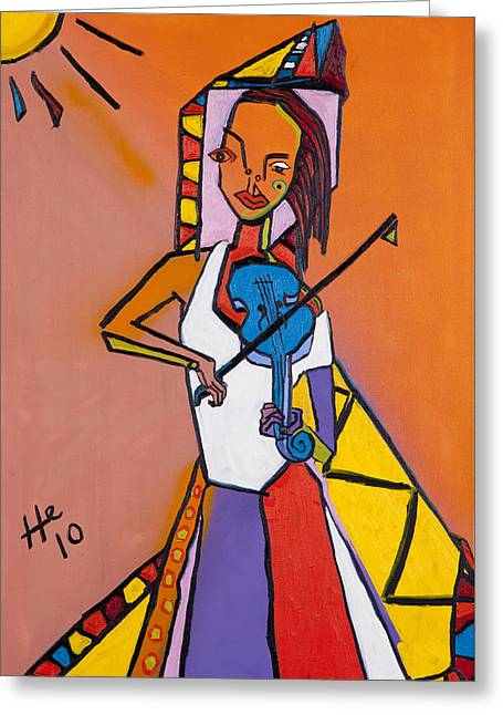Blue Fiddler 36x24 Greeting Card