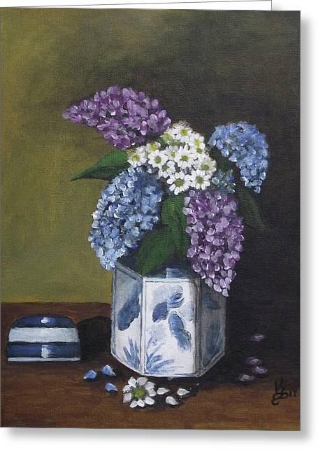 Blue Fish Vase Greeting Card by Kim Selig