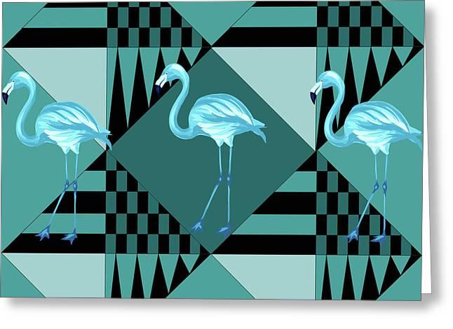 Blue Flamingo Greeting Card