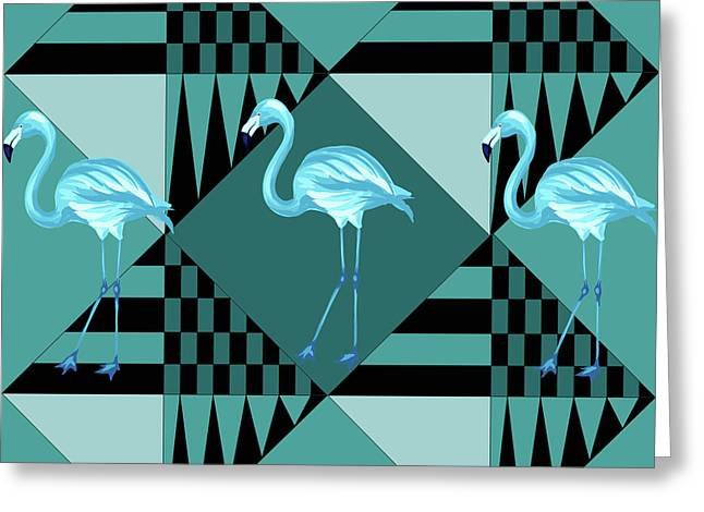 Blue Flamingo Greeting Card by Mark Ashkenazi