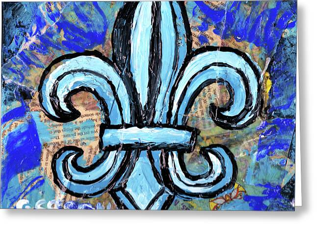 Greeting Card featuring the mixed media Blue Fleur De Lis by Genevieve Esson