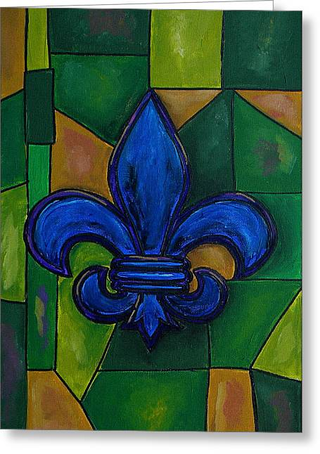 Blue Fleur De Lis Greeting Card by Patti Schermerhorn