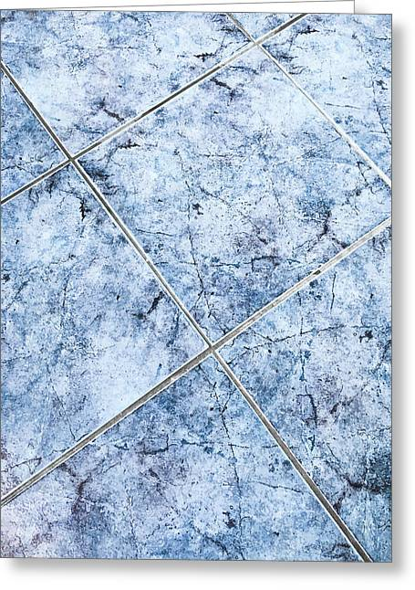 Blue Floor Tiles Greeting Card by Tom Gowanlock