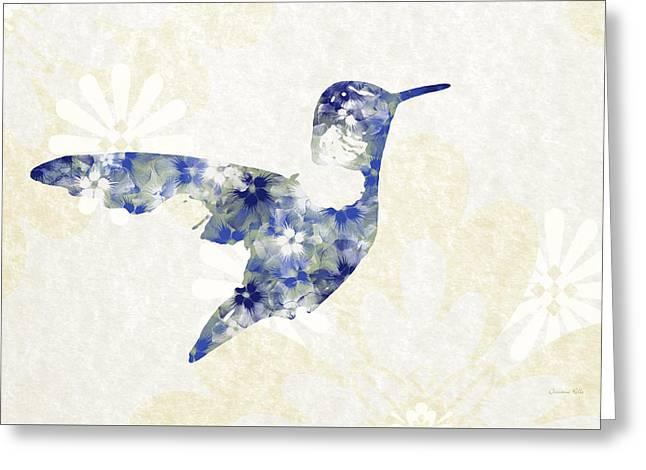 Blue Floral Hummingbird Art Greeting Card by Christina Rollo
