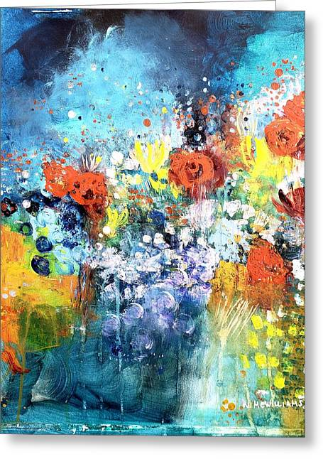 Blue Floral Greeting Card by Wendy Mcwilliams
