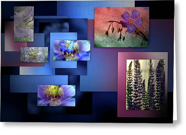 Blue Flower Collage Greeting Card by Irma BACKELANT GALLERIES