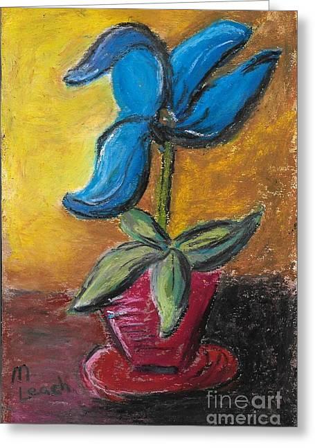 Blue Flower Greeting Card by Marlena Colino Leach