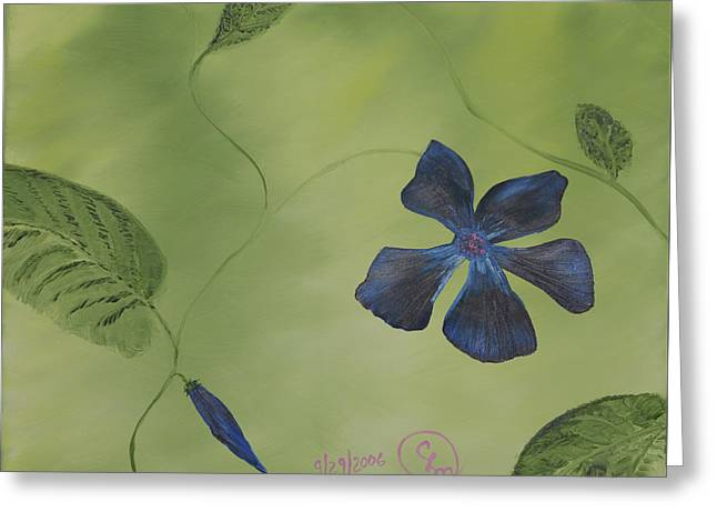 Blue Flower On A Vine Greeting Card