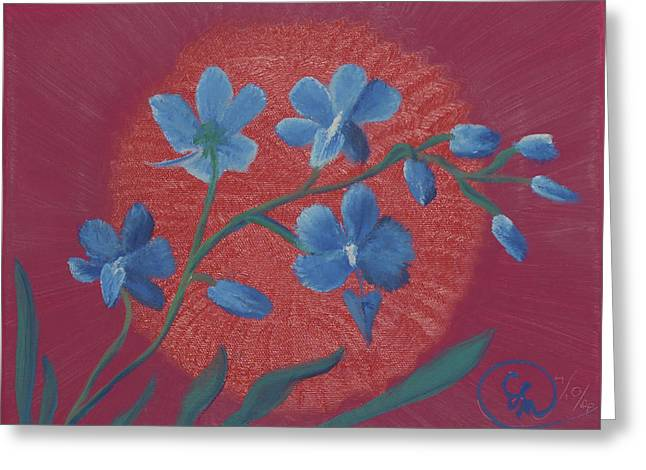 Blue Flower On Magenta Greeting Card
