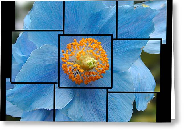 Blue Flower Photo Sculpture  Butchart Gardens  Victoria Bc Canada Greeting Card