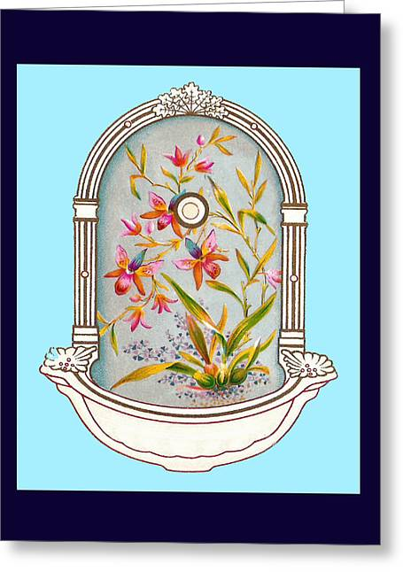 Blue Flower Porcelain Wash Basin Two Greeting Card by Eric Kempson