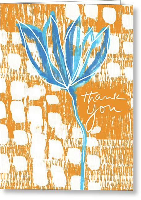 Blue Flower Thank You- Art By Linda Woods Greeting Card by Linda Woods