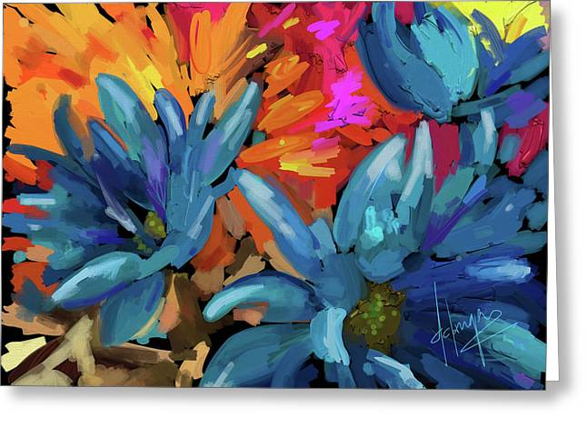 Greeting Card featuring the painting Blue Flowers 2 by DC Langer
