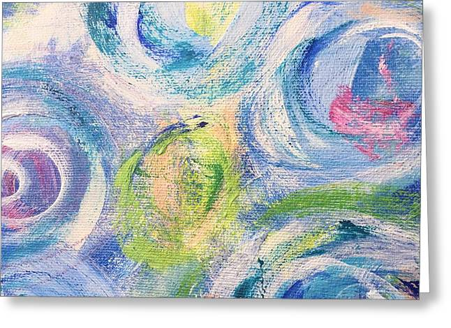 Greeting Card featuring the painting Blue Flowers - Abstract Painting by Cristina Stefan