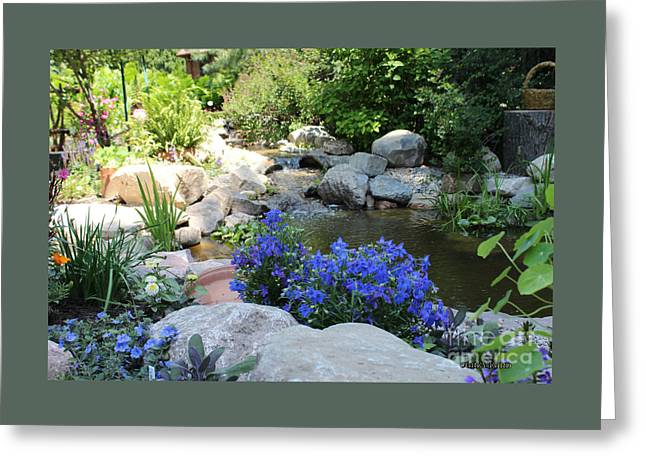 Blue Flowers And Stream Greeting Card by Corey Ford