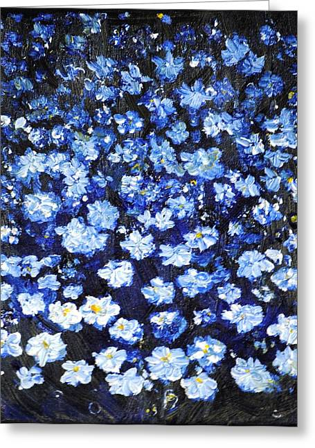 Greeting Card featuring the painting Blue Flowers by Evelina Popilian