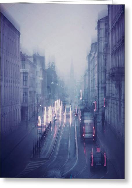 Blue Fog Over Rainy City Greeting Card by Jenny Rainbow