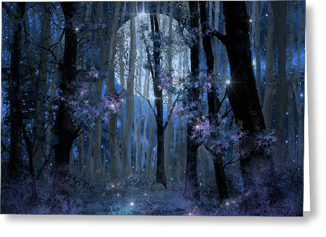 Blue Forest Greeting Card by Bekim Art