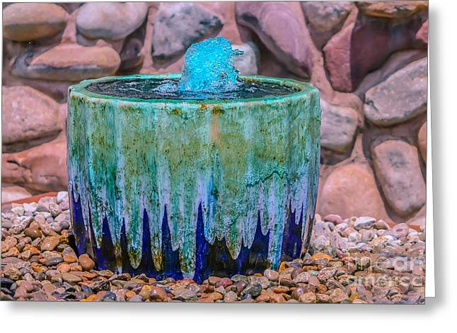 Blue Fountain Greeting Card by Claudia M Photography