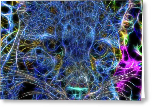 Blue Fractalius Clouded Leopard Greeting Card