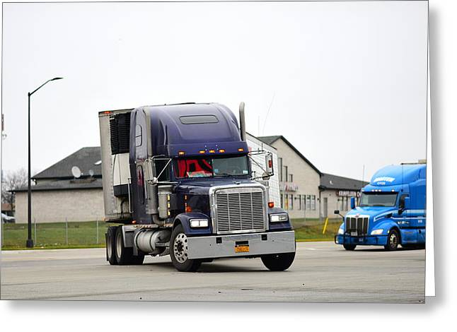 Blue Freightliner Greeting Card