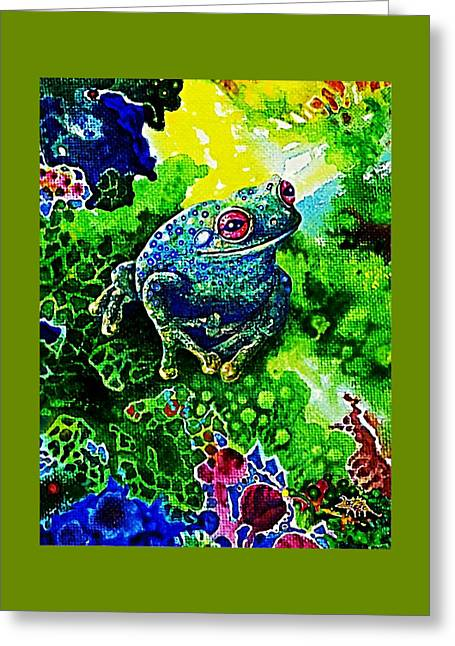 Blue  Frog Greeting Card