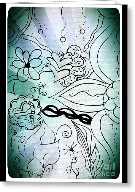 Greeting Card featuring the drawing Blue Funky Flower Doodles by Rachel Maynard