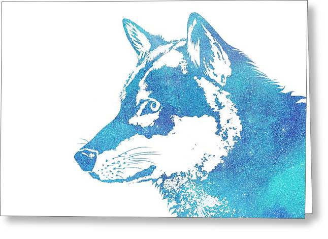 Blue Galaxy Wolf Greeting Card