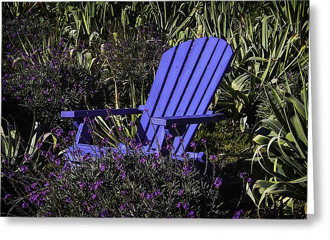 Blue Garden Chair Greeting Card by Garry Gay