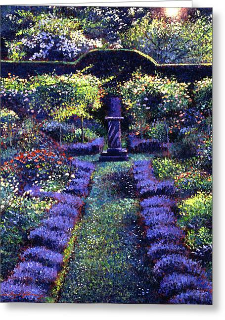 Blue Garden Sunset Greeting Card by David Lloyd Glover