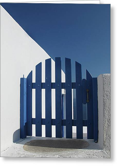 Blue Gate Oia Santorini Greeting Card