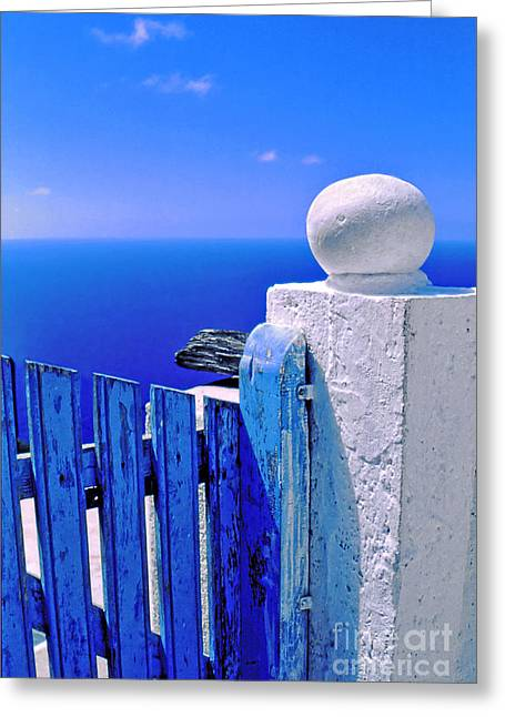 Blue Gate Greeting Card by Silvia Ganora