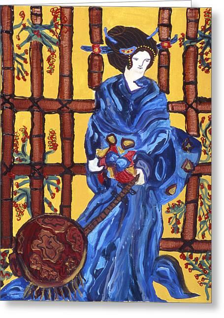 Blue Geisha Greeting Card by Lorin Zerah