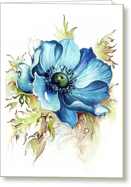 Blue Gem Greeting Card by Anna Ewa Miarczynska