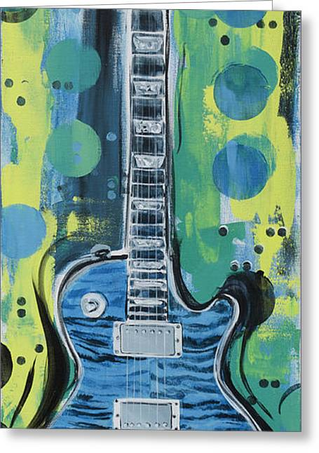 Blue Gibson Guitar Greeting Card